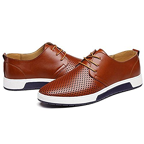 Caihee Heren Casual Oxford Schoenen Ademend Flat Fashion Sneakers Brown10