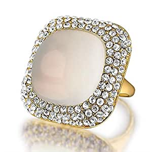 Square Ring With White Crystal Stones For Women Size 19