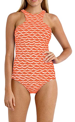 Elady One Piece Maillot Tidal Wave Monokini High Neck Bathing Suit Sexy Swimsuit (L)
