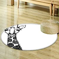 Round Rugs for Bedroom Graphic of Safari with His Tall Neck and Spots West Wild Circle Rugs for Living Room-Round 39