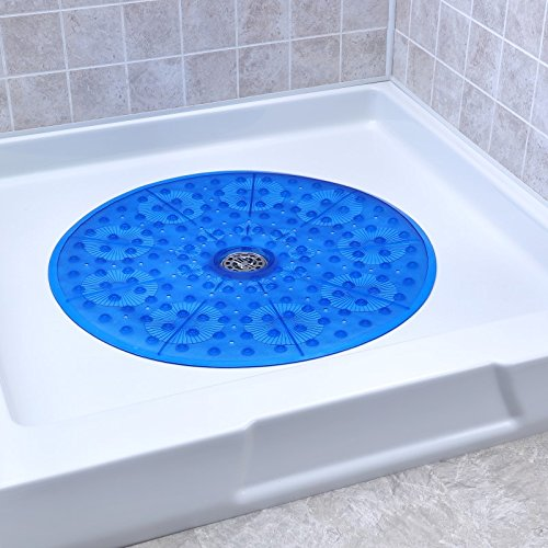 SlipX Solutions Blue Round Shower Stall Mat Provides Generous Coverage & Reliable Slip-Resistance (23