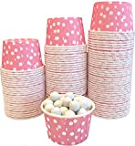 Bulk Candy Nut Mini Baking Paper Treat Cups Pink with White Dots - 100 Pack