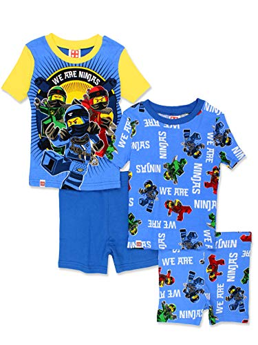 Legos 4 Pack - LEGO Ninjago Boy's 4 Piece Cotton Short Sleeve Tee Shorts Pajamas Set (6, Blue)