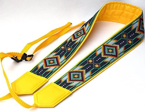 DSLR//SLR Camera Strap Yellow Ethnic Camera Strap Code 00182 Ethnic Camera Strap Colorful Camera Strap Inspired by Native Americans