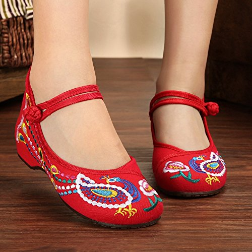 Shoes Oxfords increase Dance Embroidered Bottom X62red Canvas Shoes Internal Women wpgSn