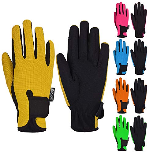 Mashfa Kids Horse Riding Gloves Children Equestrian Horseback Winter Biking Bike Gardening Ski Snow Cycling Boys & Girls Mittens Pony Youth Outdoor Mitts (Yellow, Age 10-12 Years)
