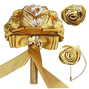 MARJON Flowers3pc Set Bridal Bouquet,Handmade Roses Wedding Flowers Crystal Heart Pearl Party Decor(Bouquet&Boutonniere&Wrist Corsage Set) (Champane Set) 57