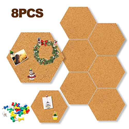 Hexagon Cork Board Tiles 11.8''×10.2'' Adhesive Wood Hexagon Pad Bulletin Big Size Message Board Pin Board Decoration for Photos, Notes, Goals, Pictures-Bonus a Box of pushpins(8 Pack)