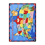 Joy Carpets Kid Essentials Geography & Environment Read Across America Rug, Multicolored, 7'8'' x 10'9''