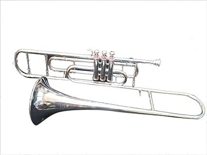 Amazon com: Surbhi Music Silver Chrome Nickle Valve Trombone Bb Flat