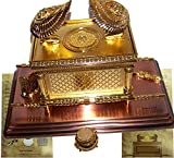 The Ark of The Covenant Gold Plated with Ark Contents Replica (Aaron Rod, Tablets and Manna) - Large