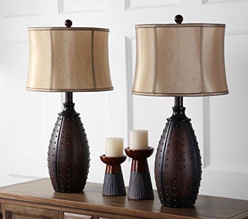 Safavieh Lighting Collection Santa Fe Brown Faux Leather 28-inch Table Lamp (Set of 2) ()