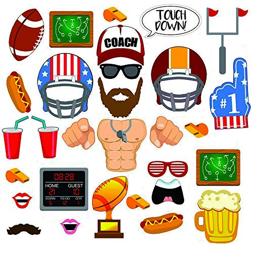 Football Photo Booth Props,Football Party Decorations Supplies,Sports Party Photo Booth Props, Baby Shower, Birthday Party Photo Booth Props -30 Piece -