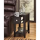 Modern Narrow Nightstand Rectangle Wooden Black Chair Side End Table with Single Storage Drawer - Includes Modhaus Living Pen