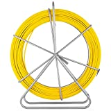 VEVOR Fish Tape Fiberglass 8MM 492FT Duct Rodder Fish Tape Continuous Fiberglass Tape Wire Cable Running with Cage and Wheel Stand