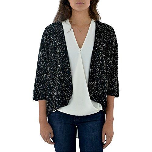 Ella Moss Frances Beaded Crop Jacket In Black (Large, (Beaded Crop Jacket)