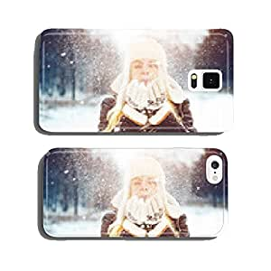 Beautiful girl in winter park, close-up. cell phone cover case iPhone6
