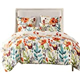 FORCHEER King Duvet Cover Set Printed Floral Microfiber Zipper Closure Comforter Cover Set with 2 Pieces Pillowcase Cover (King, 78390)
