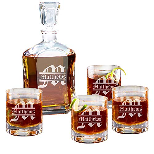 (Personalized 5 pc Whiskey Decanter Set - Decanter and 4 Glasses Gift Set - Custom Engraved with Name and Initial)