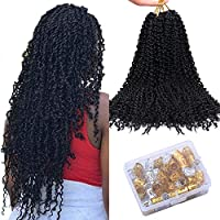 Fani Passion Twist Hair 20 Inches Synthetic Water Wave Twists Crochet 6 Packs Black Curly Hair Bundles for Braiding Hair Extensions (1B)