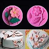 Binmer Cake Mold,Peach Blossom Shape Fondant Silicone Molds Cake Decorating Tools Chocolate Mold