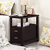 vintage accent table - Topeakmart Chairside Table with 2 Drawer and Shelf Narrow Nightstand for Living Room (Espresso, Rustic)