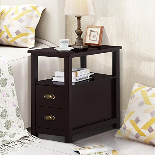 Topeakmart Chairside Table with 2 Drawer and Shelf Narrow Nightstand for Living Room (Espresso, Rustic) (End Drawers Tables With)