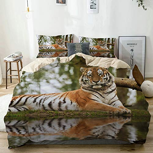 real tiger photo print bedding set