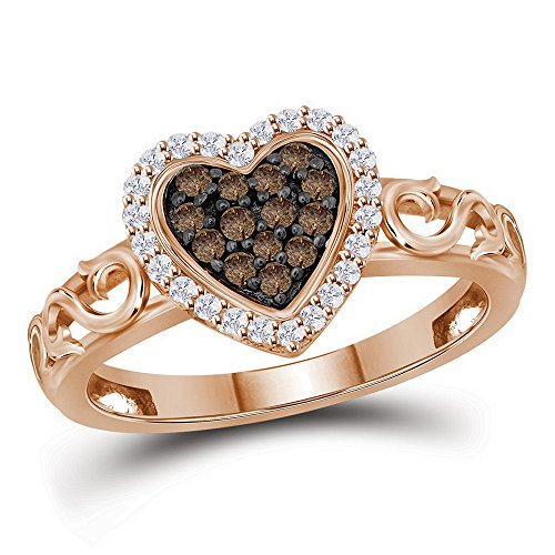 Sonia Jewels Size 9-10k Rose Gold Round Chocolate Brown Diamond Heart Love Ring (1/4 Cttw)