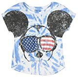 Disney Mickey Mouse Little Girls' USA Shades Tie Dye Front Tie Tee (SM, 6/6x)