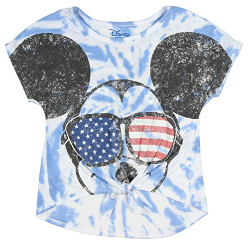Disney Mickey Mouse Little Girls' USA Shades Tie Dye Front Tie Tee (XS, - Flag Mickey Mouse
