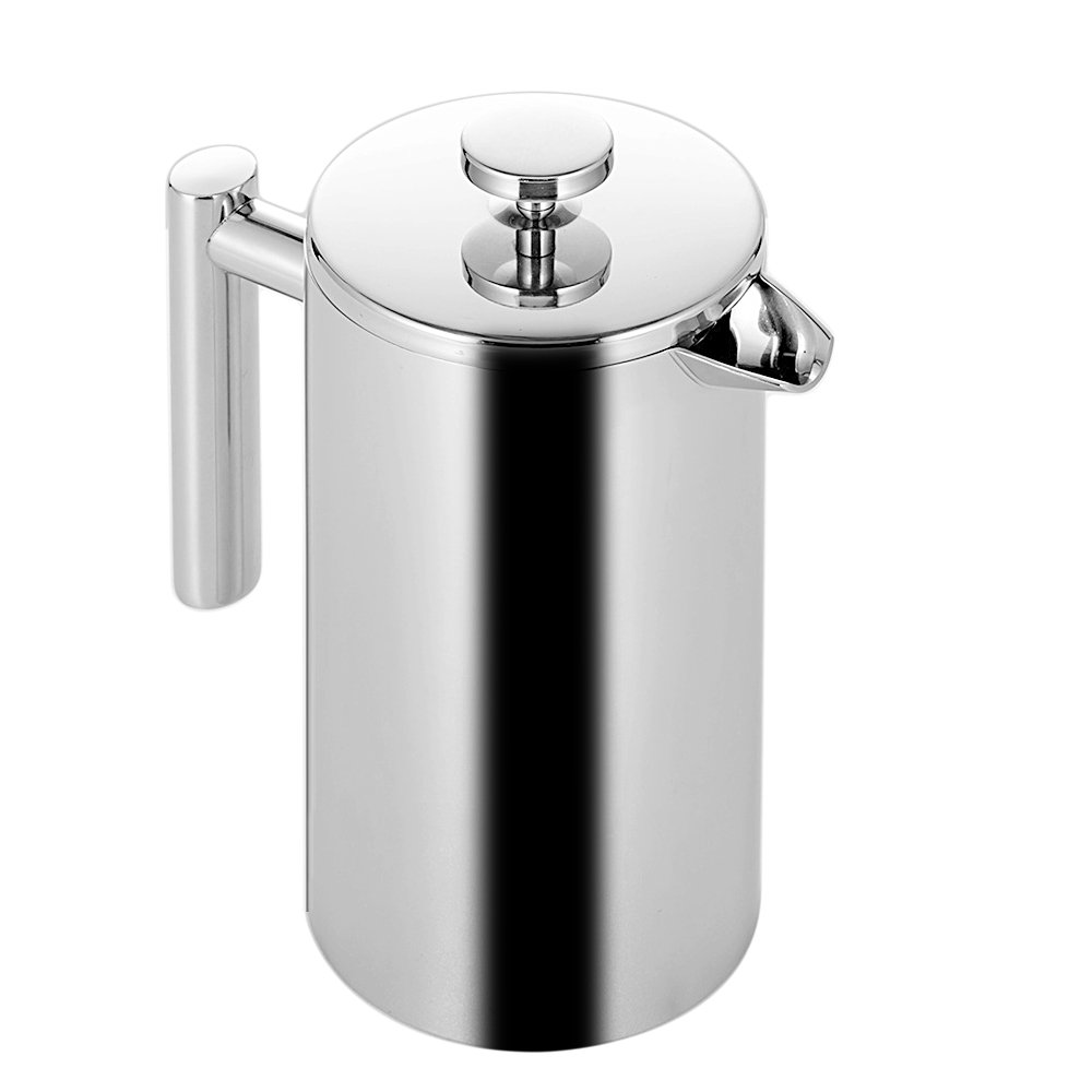 Gosear 350ml Double Wall Stainless Steel Insulated Coffee Teapot French Coffee Press Maker Pot With Filter
