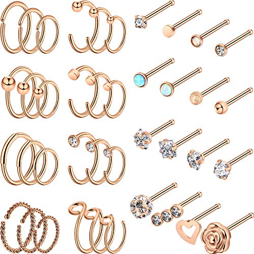 40 Pieces C Shape Nose Hoop Ring Tragus Nose Studs Stainless Steel Nose Ring CZ Cartilage Nose Hoops Piercing for Women Men (C Shape, Bone Stud, Rose Gold)