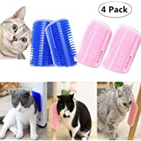 4 Pack Cat Self Groomer, Magnoloran Cats Corner Groomers Soft Wall Corner Massage Combs Grooming Brush Soft Rubber Bristles Perfect Massager Deshedding Tool for Kitten Puppy (Blue and Pink)