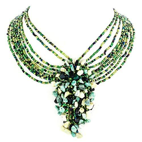 17' Green Jade Necklace - 2 15/16'' Onyx Jade Pendant Green Mix Beads Necklace YE-2646
