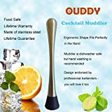 Ouddy Stainless Steel & Gridded Nylon Cocktail Muddler - Popsicle Muddler - Unique Head Design Is Excellent for Mint and Herbs