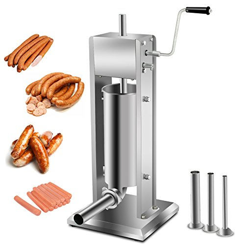 Super Deal Heavy Duty 5L Vertical Sausage Stuffer,11LB Two Speed Stainless Steel Meat Mince Maker w/ 4 Stuffing Tubes, Meat Grinder, Restaurant Meat Pork Filler(Sausage Filler 5L)