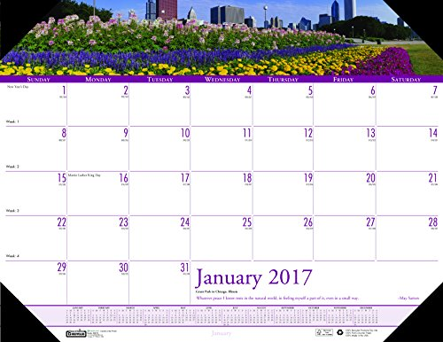 "House of Doolittle 2017 Monthly Desk Pad Calendar, Earthscapes Gardens, 22 x 17"" (HOD174-17)"