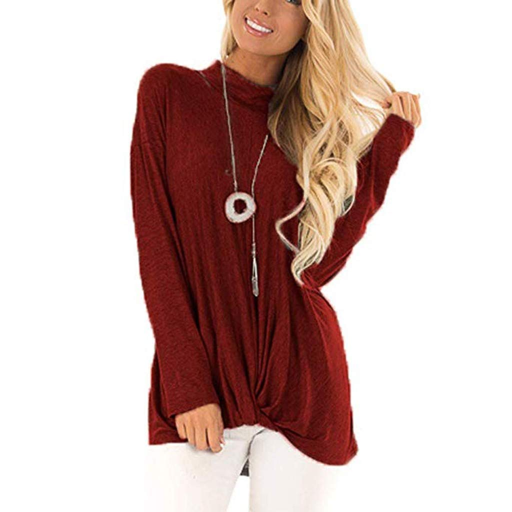 YKARITIANNA Women Casual Long Sleeve Solid Color T Shirts Twist Knot Tunics Tops Blouses at Amazon Womens Clothing store: