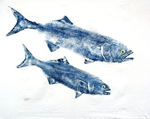 Two Bluefish GYOTAKU fish Art print 8.5 X 11 inch by Barry Singer. Beach House Cottage décor