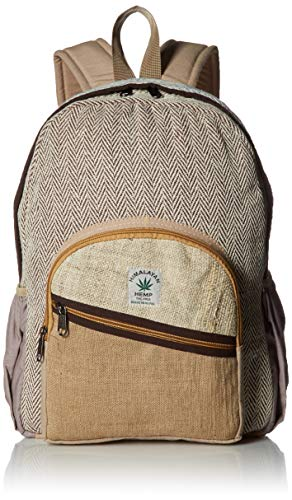 100% Pure Hemp Natural Color Backpack Handmade Nepal with Laptop Sleeve - Fashion Cute Travel School College Shoulder Bag / Bookbags / Daypack ()