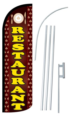 "NEOPlex - ""RESTAURANT"" 12-foot SUPER Swooper Feather Flag With Heavy-Duty 15-..."
