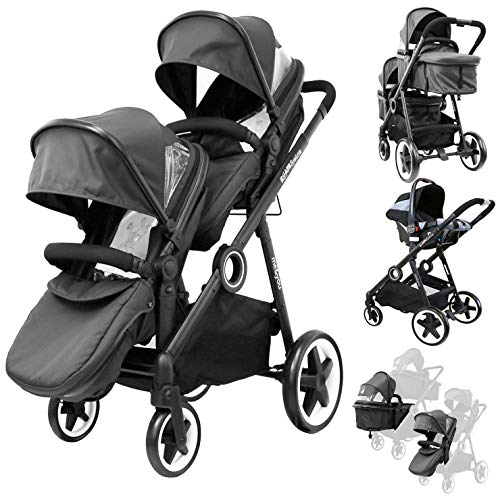 iSafe Me&You Inline Tandem - with Second Seat & X2 iSafe Car Seats - Black: Baby