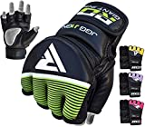 RDX Kids MMA Gloves Grappling Martial Arts Sparring Punching Bag Junior Cage Fighting Youth Maya Hide Leather Mitts Children UFC Combat Training