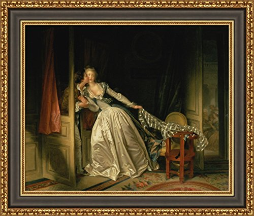 Jean-Honoré Fragonard The Stolen Kiss Framed Canvas Giclee Print - Finished Size (W) 33.1'' x (H) 28.1'' [Black/Gold] (V02-11M-MD535-70) (The Stolen Kiss By Jean Honore Fragonard)
