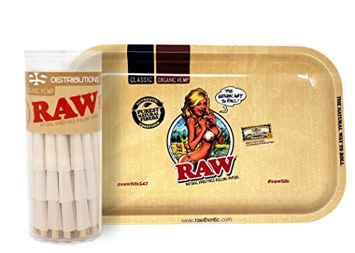RAW Girl Design Metal Rolling Tray (Small) Bundle with 75 Organic 1 1/4 Size Pre-Rolled Cones
