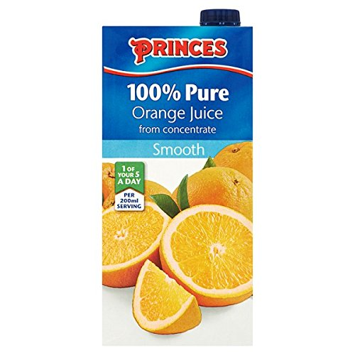 Princes 100% Pure Orange Juice from Concentrate Smooth 1 Litre (Pack of 12 x 1ltr)