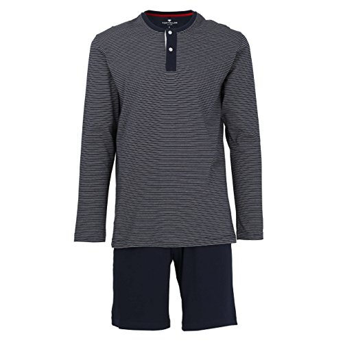 TOM TAILOR Herren Shortama, Baumwolle, Single Jersey, blau, gestreift
