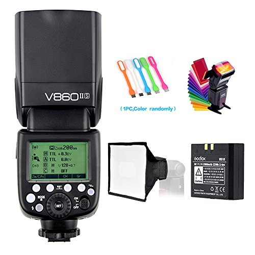 Godox V860II-S High-Speed Sync GN60 1/8000 2.4G TTL Li-ion Battery Camera Flash Speedlite Light Compatible for Sony Camera + USB LED