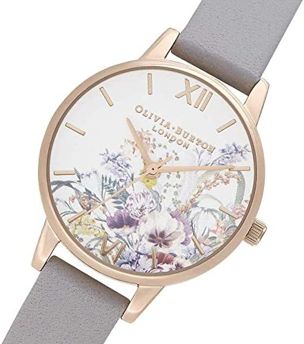Olivia Burton Women's Stainless Steel Quartz Watch with Leather Strap, Grey, 1.5 (Model: OB16EG150)